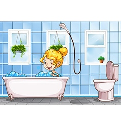 Girl taking bath in the bathroom vector image