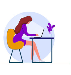 girl with a laptop sitting on a chair vector image