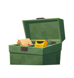 Green fishing tackle box isolated on white vector
