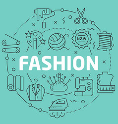 Green line flat circle fashion vector