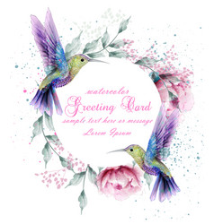 Greeting card with watercolor humming bird frame vector