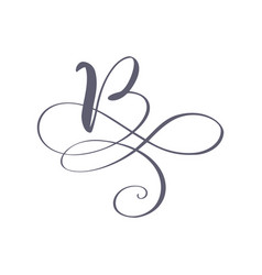 hand drawn calligraphic floral b monogram vector image