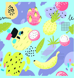 hand drawn seamless pattern with tropical fruits vector image