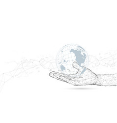 hand holding with global connection vector image