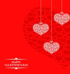 hearts card hanging red vector image