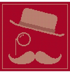 Hipster trend vintage hat monocle and moustache vector image