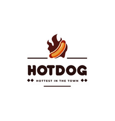 Hotdog and fire vintage emblem hipster logo vector