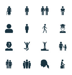 Human icons set with user couple team and other vector