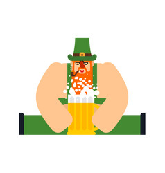 Leprechaun and beer mug ale st patricks day vector