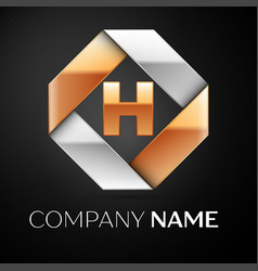 letter h logo symbol in the colorful rhombus on vector image
