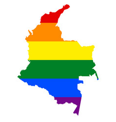 Lgbt flag map of colombia rainbow map of colombia vector