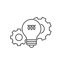 light bulb and cog wheels vector image