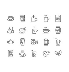 line coffee and tea icons vector image