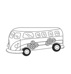 line retro hippie bus transportation with flowers vector image