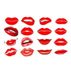 Lips set design element Womans lip gestures set vector image