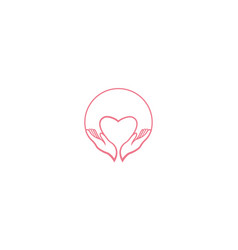 Love with hand and circle for care community vector
