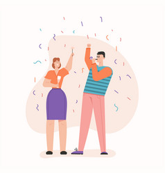Man and woman celebrating at party with confetti vector