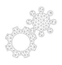mesh gears icon vector image