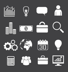 monochrome business icons set vector image