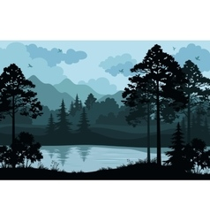 Mountains Trees and River vector