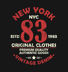 new york vintage graphic for number t-shirt vector image