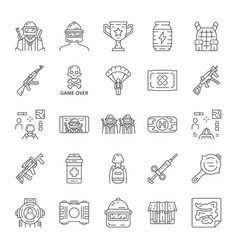 online game inventory linear icons set vector image