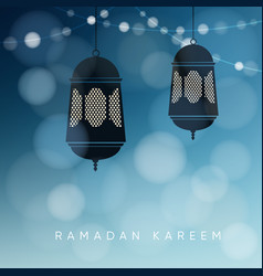Ornamental arabic lanterns with string of lights vector