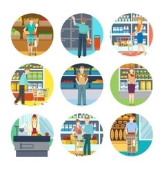 People In Supermarket Icons vector
