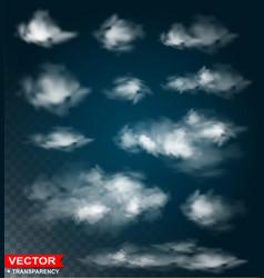 photorealistic white clouds transparent set vector image
