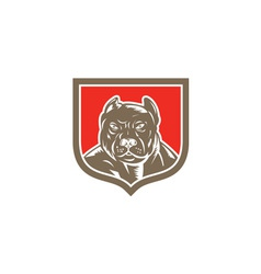 Pitbull Dog Mongrel Head Shield Woodcut vector image