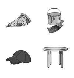 Pizzeria clothes and other monochrome icon in vector