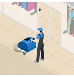 Professional cleaner at work isometric banner vector
