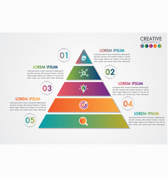 Pyramid infographic colorful template with 5 steps vector