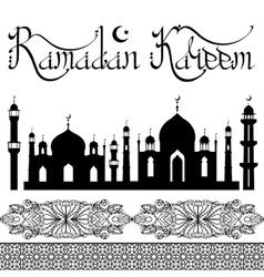 Ramadan Kareem Arabic style letteringmosque vector