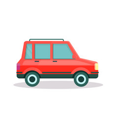 red car with trunk on roof on white background vector image