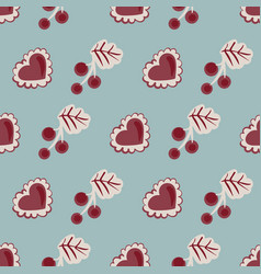 Red currants and hearts seamless pattern vector