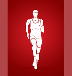 running action marathon runner start running vector image