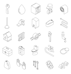 Sanitary engineering icons set vector