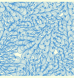 Seamless floral blue doodle pattern with swirls vector