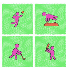Set olympic game design in hatching style vector