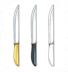 Set realistic sketch knives Knives for design vector