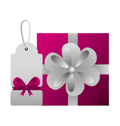 shopping online gift box and tag price vector image