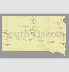 South dacota accurate high detailed state map vector