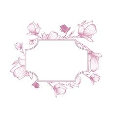 Spring Magnolia Blossom Flower Frame vector image