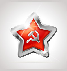 star shaped bright glossy silver badge icon with vector image