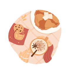sweet breakfast or lunch top view pancakes vector image