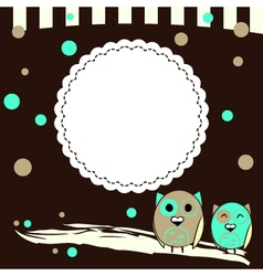 Template for postcard with two owls and brown vector image