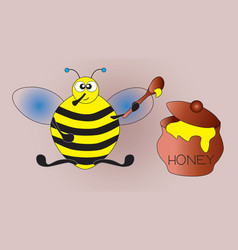 Thick pleased bee after a hearty breakfast vector