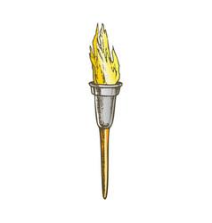 Torch modern metallic burning stick color vector
