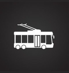 Trolley bus on black background vector